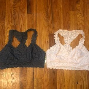 pink and grey lace bralette